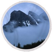 Fog And Clouds Round Beach Towel