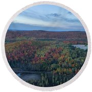 Fog And Fall Colors Round Beach Towel