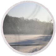 Fog And Snow Round Beach Towel
