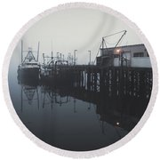 Fog Before Sunrise Round Beach Towel
