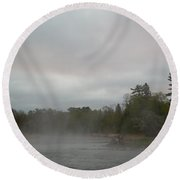 Fog Floating On Mississippi River Round Beach Towel