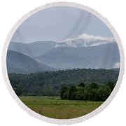 Fog Forming In The Mountains Round Beach Towel