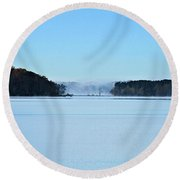 Fog In The Distance Round Beach Towel