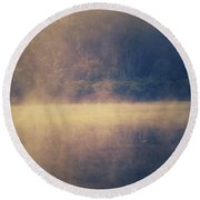Fog In The Foothills Round Beach Towel