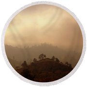 Fog In The Hills Round Beach Towel