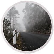 Fog In The Mountains  Round Beach Towel