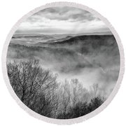 Fog In The Mountains - Pipestem State Park Round Beach Towel