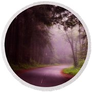 Fog In The Redwoods Round Beach Towel