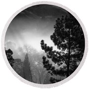 Fog In The Trees Round Beach Towel
