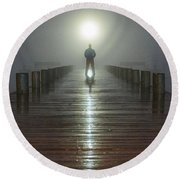 Fog Man Round Beach Towel
