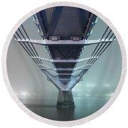 Fog - Millennium Bridge Round Beach Towel