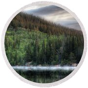 Fog On Bear Lake Round Beach Towel