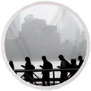 Fog On The Hudson Round Beach Towel