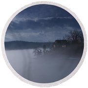 Fog On The Lake - Dawn At The Lake Of The Ozarks, Missouri Round Beach Towel