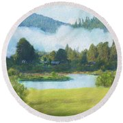 Fog On The Road To Mccall Round Beach Towel
