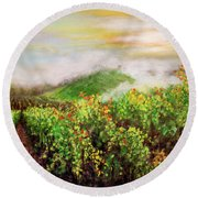Fog On The Vines Round Beach Towel