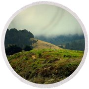 Fog Over The Lagoon Round Beach Towel