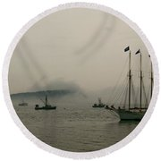 Fog Over The Porcupines Round Beach Towel