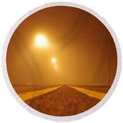 Fog Shrouded Road Round Beach Towel
