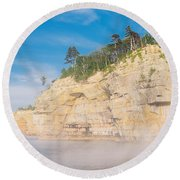 Foggy Afternoon  Round Beach Towel