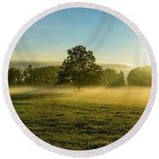 Foggy Autumn Morning On The Farm Round Beach Towel
