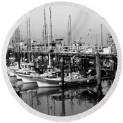 Foggy Boats Round Beach Towel