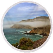 Foggy Day At Big Sur Round Beach Towel