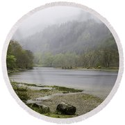 Foggy Day At Loch Lubnaig Round Beach Towel