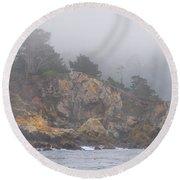 Foggy Day At Point Lobos Round Beach Towel