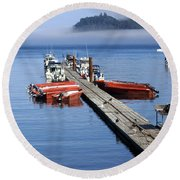 Foggy Dock Round Beach Towel