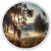 Foggy Dreamworld 2 Round Beach Towel