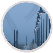 Foggy Evening Round Beach Towel