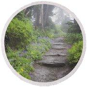 Foggy Forest Path Round Beach Towel