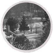 Foggy Frosty Morning Round Beach Towel
