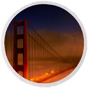 Foggy Golden Gate At Sunset Round Beach Towel