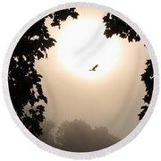 Foggy Heron Flight Round Beach Towel