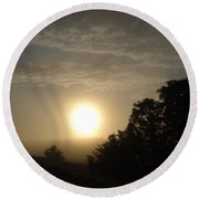 Foggy June Sunrise Round Beach Towel
