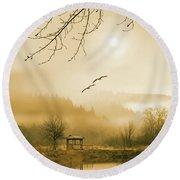 Foggy Lake And Three Couple Of Birds Round Beach Towel