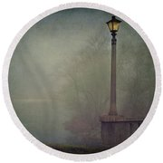 Foggy Lampost Round Beach Towel