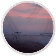 Foggy Lighthouse 4 Round Beach Towel