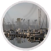 Foggy Marina Morning 2 Round Beach Towel