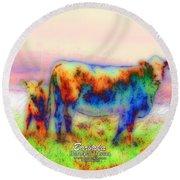Foggy Mist Cows #0090 Arty Round Beach Towel