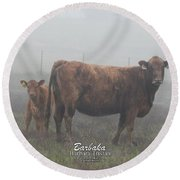 Foggy Mist Cows #0090 Digitally Altered Round Beach Towel