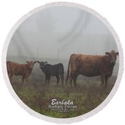 Foggy Mist Cows #0092 Round Beach Towel