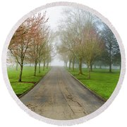 Foggy Morning At The Park Round Beach Towel