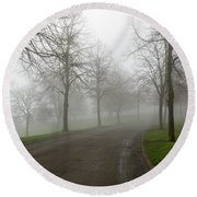 Foggy Morning At The Park Winding Path Round Beach Towel