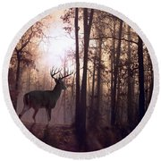 Foggy Morning In Missouri Round Beach Towel