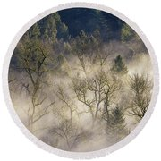 Foggy Morning In Sandy River Valley Round Beach Towel