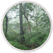 Foggy Morning In The Woods Round Beach Towel