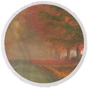 Foggy Morning On Cloudland Road Round Beach Towel